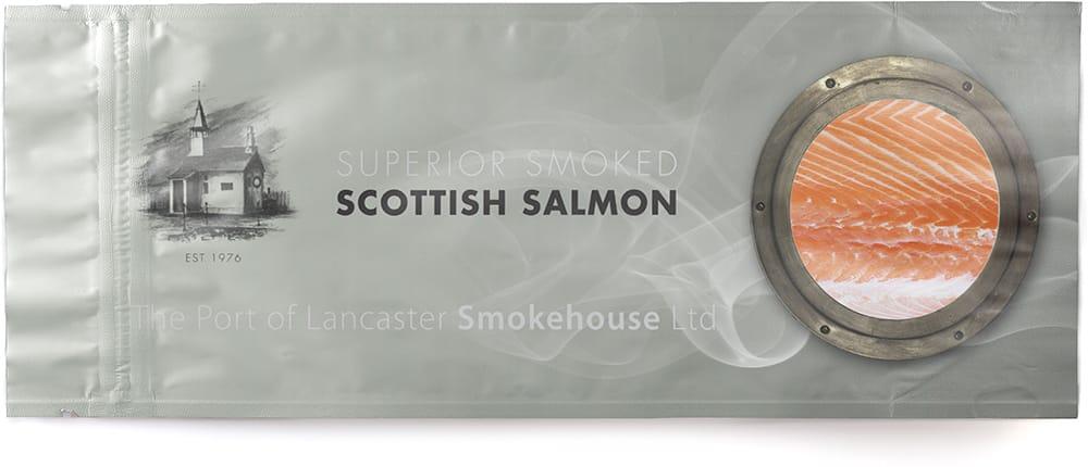 confezione di buste di salmone stampate