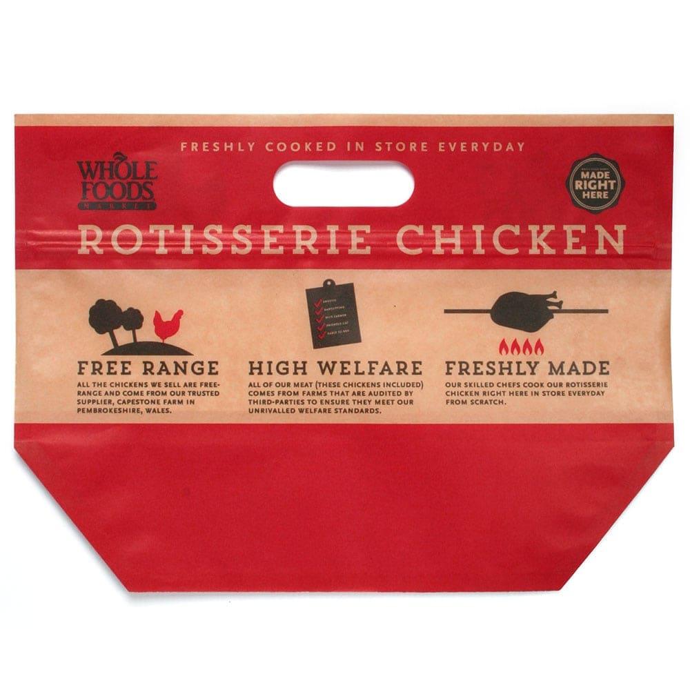 busta standup con stampa di pollo arrosto